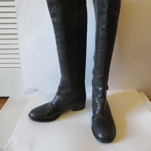 79543b1549fdf1 Tory Burch Shoes - TORY BURCH BLACK LEATHER OVER KNEE-HIGH BOOT 7.5